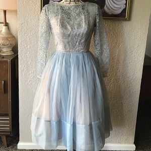 1950's retro formal lace and chiffon dress